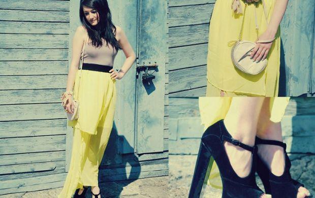 Asymetryczna sukienka nenowa limonkowa dłuższy tył