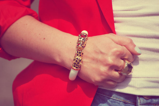 Biało złota bransoletka z tygrysami