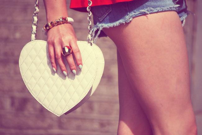 Pikowana torebka serce topshop