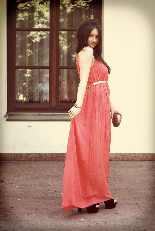 Koralowa maxi dress elegancka