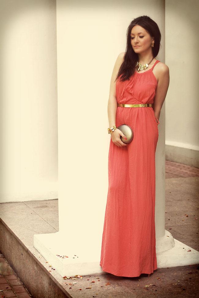 Koralowa sukienka maxi dress długa