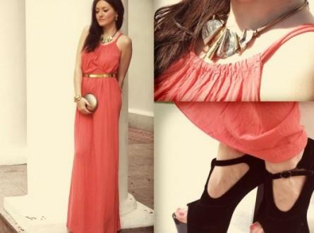 Blog o modzie koralowa sukienka maxi dress