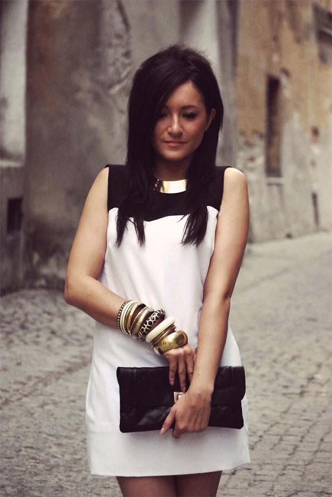 Sukienka mini czarno-biała elegancka