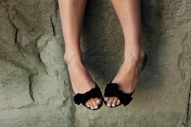 Buty z kokardką czarne balerinki
