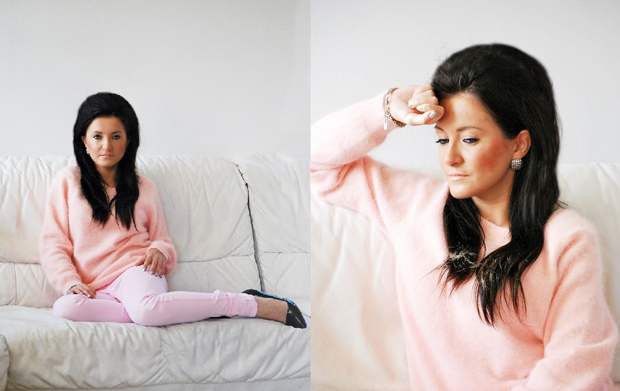 Sweter H&M różowy z angory Lana Del Rey 2012