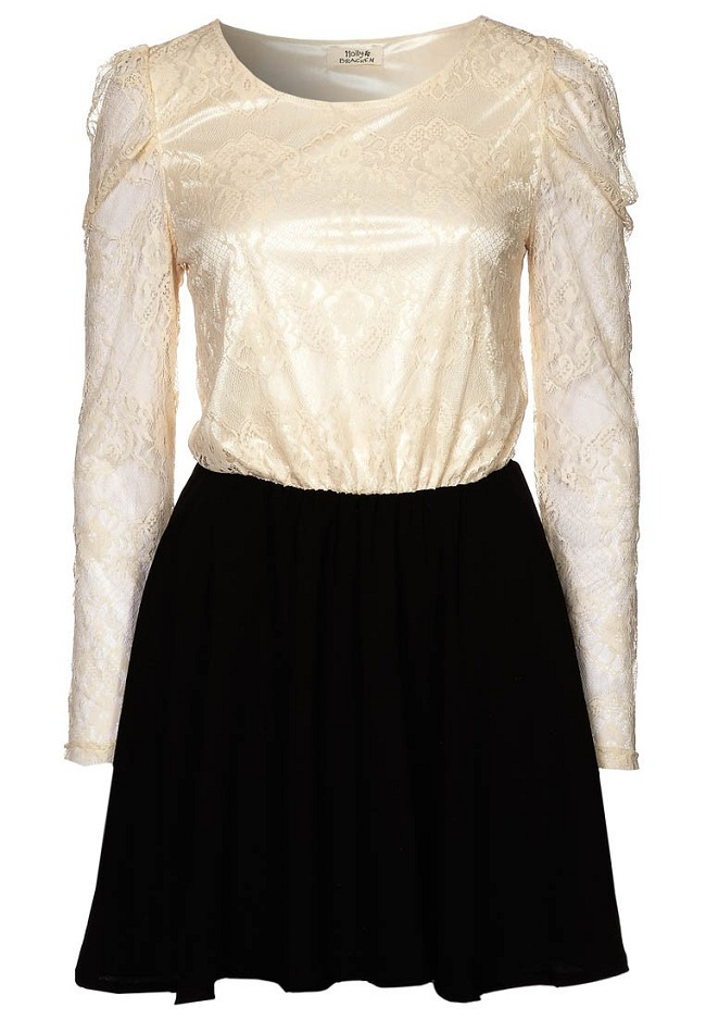 Sukienka beżowo czarna mini