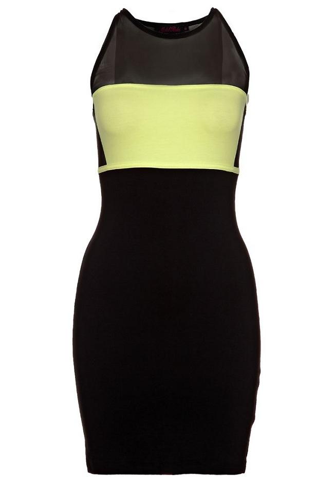 Sukienka mini tuba cytrynowa czarna szara