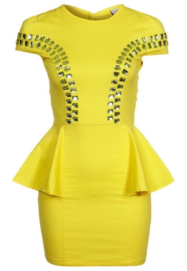 Sukienka na sylwestra żółta z baskinką