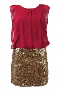Sukienka na sylwestra bordowo złota mini