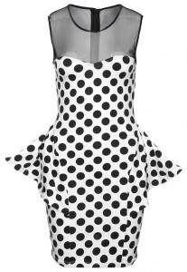 Sukienka na sylwestra z baskinką czarno biała w kropki