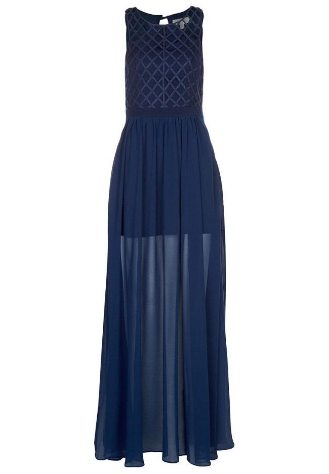 Sukienka niebieska długa prześwitująca
