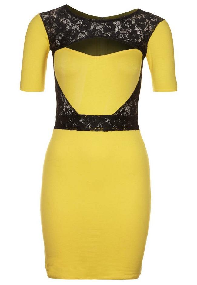 Sukienka sylwestrowa żółta z czarną koronką