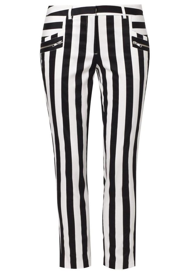 czarno białe paski spodnie
