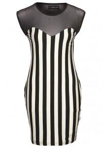 czarno białe paski sukienka
