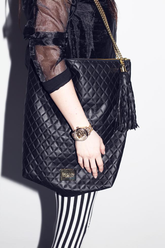 torba pikowana czarna