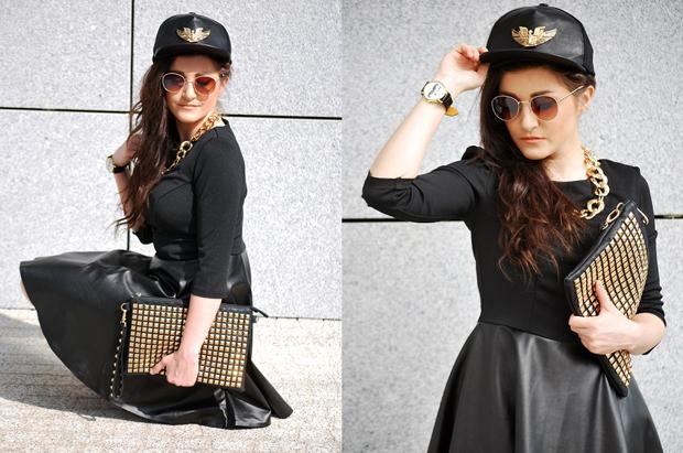 Czarna sukienka plisowana