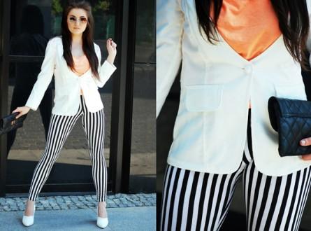 spodnie w czarno białe paski