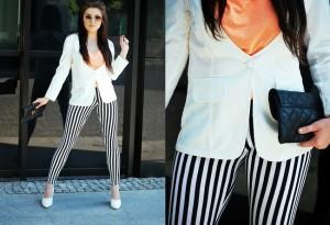 spodnie w czarno-białe paski