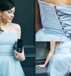 """Tiulowa sukienka w kolorze """"baby blue"""" z czarną ramoneską"""