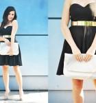 Czarna elegancka sukienka, złoty pasek i beżowe dodatki