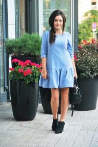 sukienka niebieska z falbaną