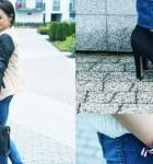 Miejska stylizacja w jeansach, kremowym swetrze i brązowej kurtce