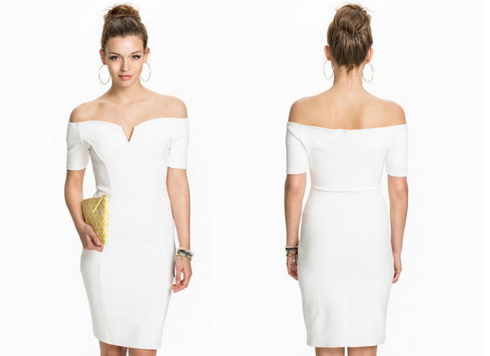 biała sukienka koktajlowa vero moda