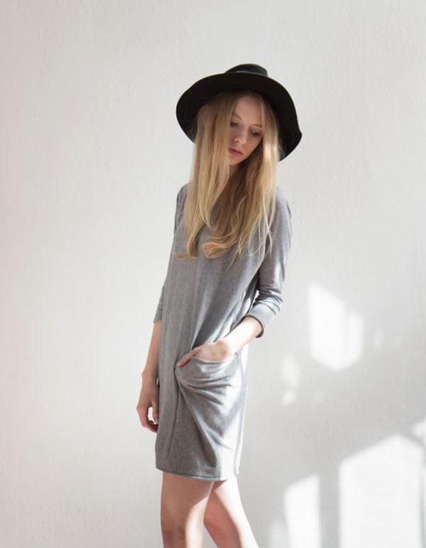 luźna szara sukienka