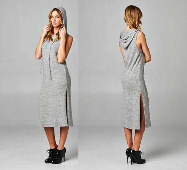 szara sukienka dresowa kaptur