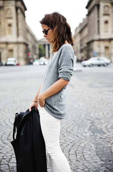 Grey-Sweater-White-Jeans