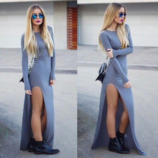 ijuzkq-l-610x610-dress-long+dress-long+sleeve+dress-long+dresses+2014-grey+dress-slit+dress-slitted+maxi+skirt-slitted+dress-bag