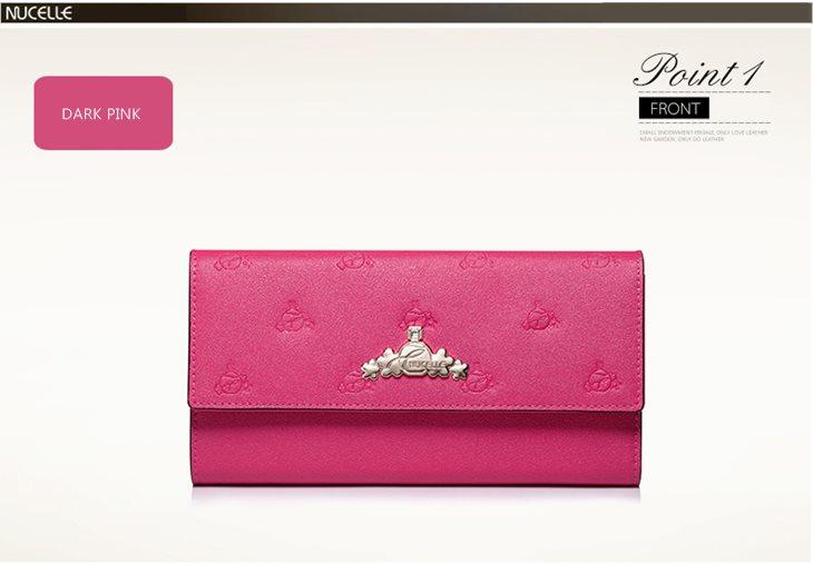 różowy portfel skóra