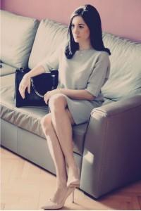 sukienka szara swetrowa