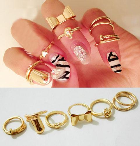 złote pierścionki kokardki