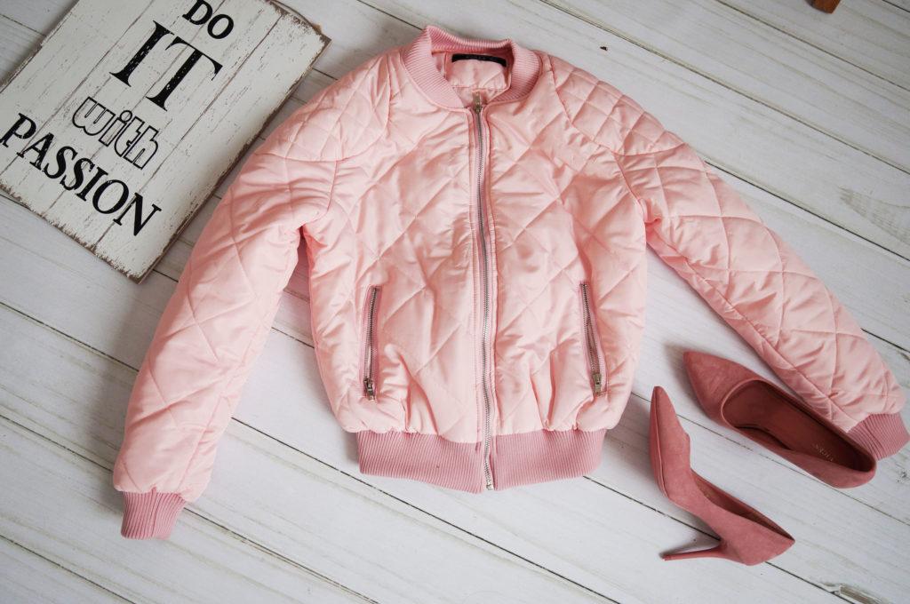 kurtka różowa krótka pikowana
