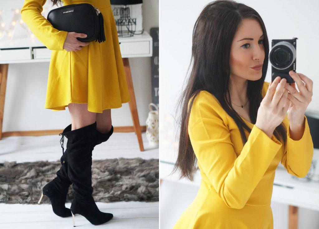 stylizacja w żółtej sukience