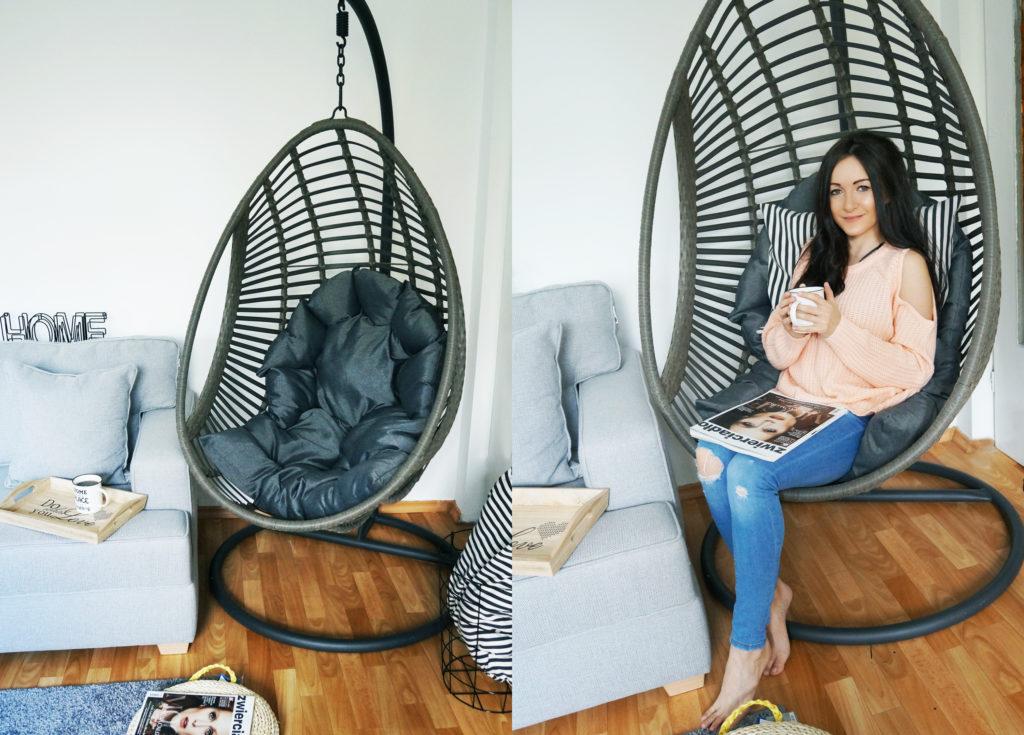 fotel wiszący z raratnu
