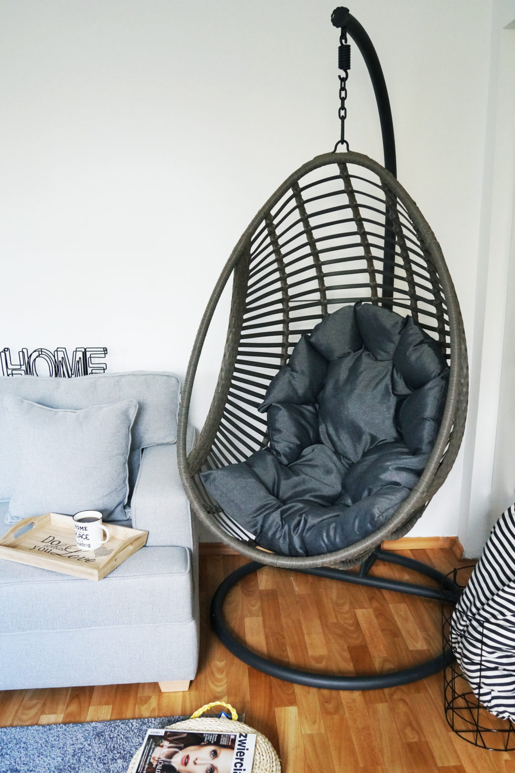 Ikea Cocoon Miloo Fotel Wiszący Cocoon Czarno Beżowy 323486