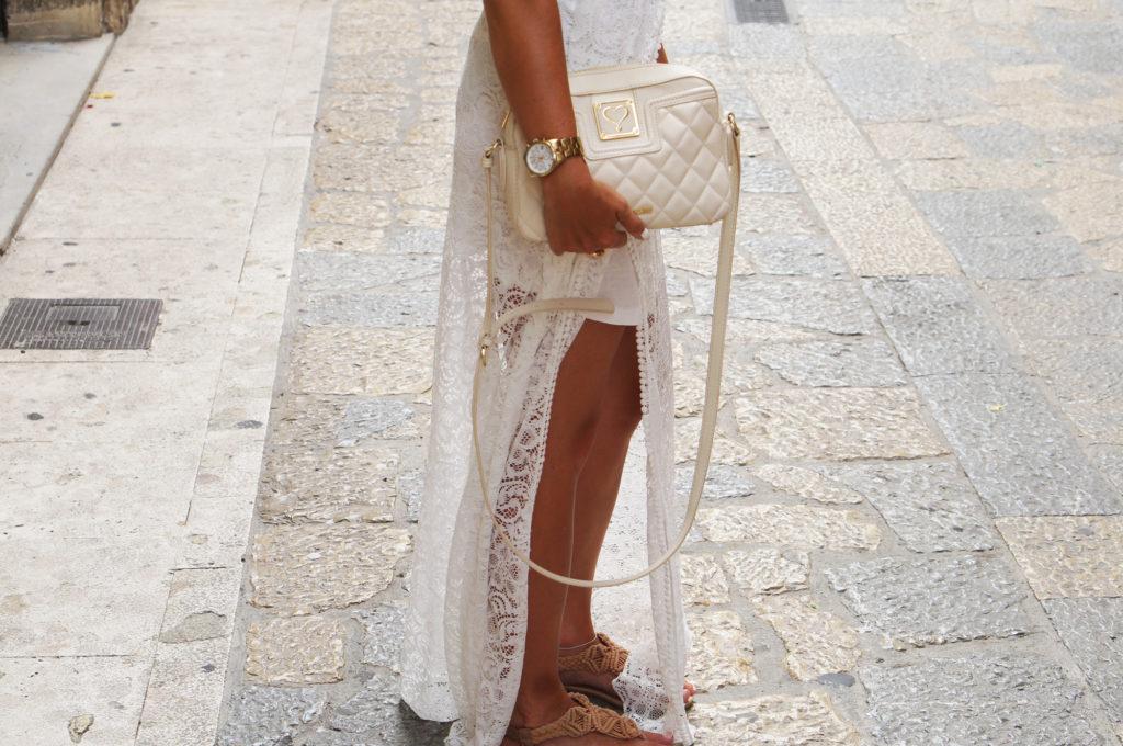 torebka pikowana biała