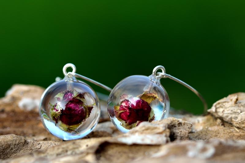 rose resin earrings