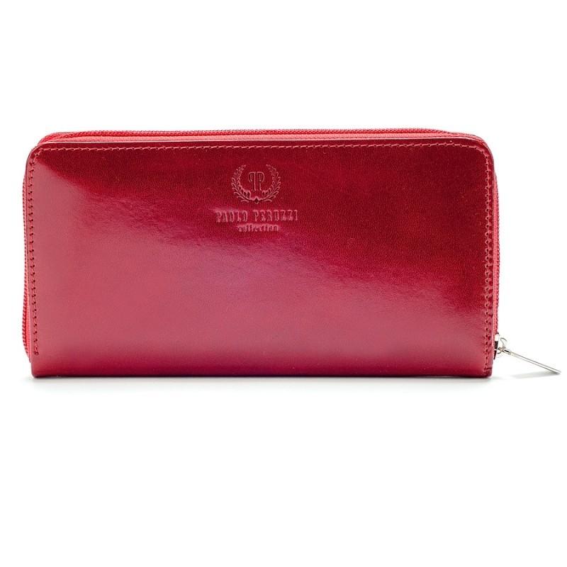 skórzany portfel czerwony