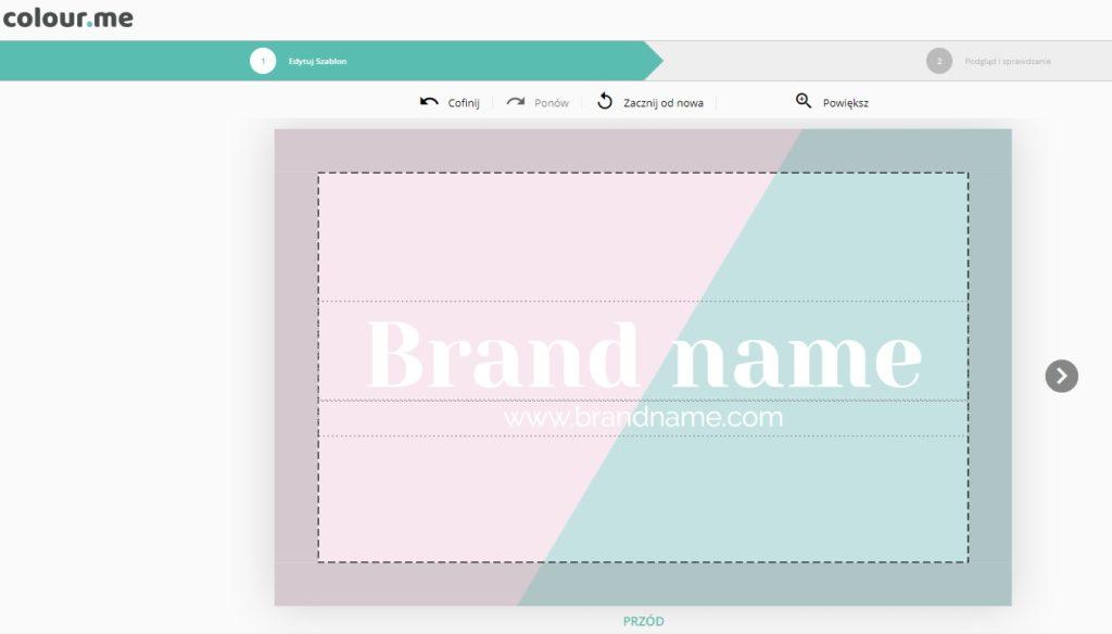 projektowanie wizytówki z szablonu