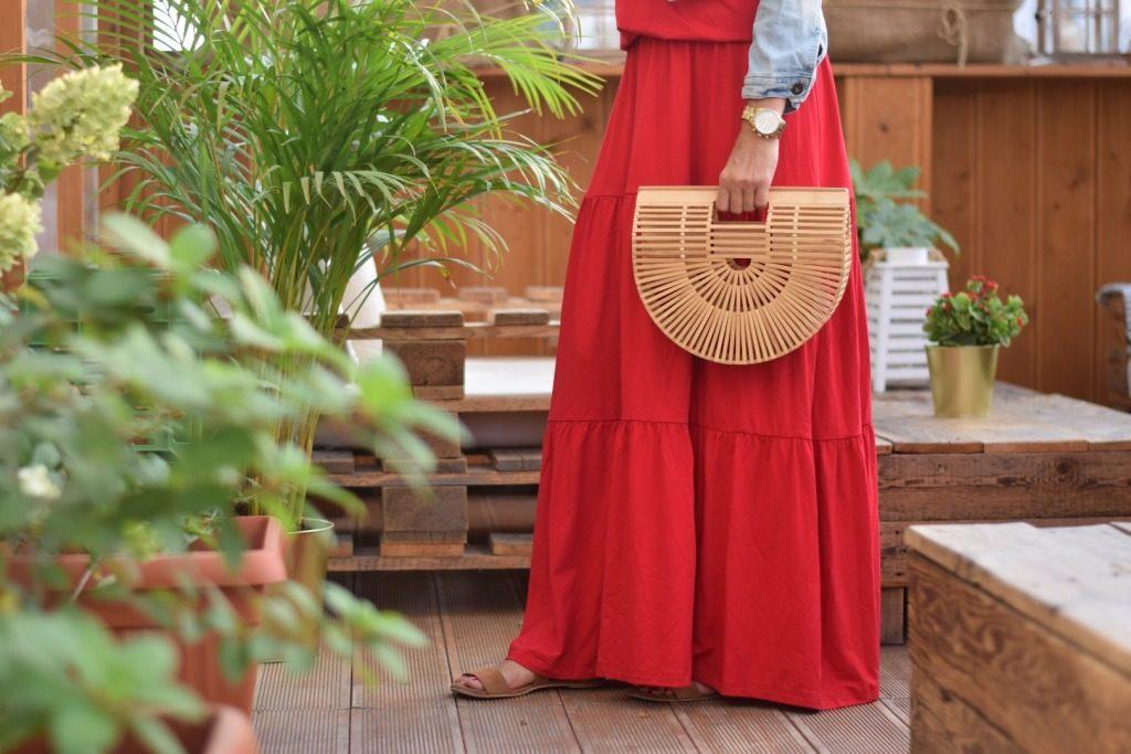 sukienka długi czerwona