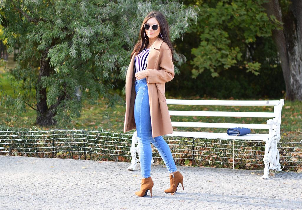 camelowy płaszcz stylizacja