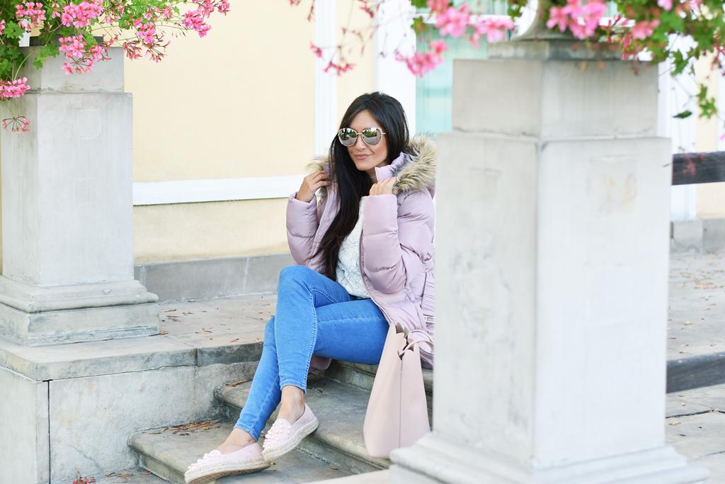 kurtka pikowana pudrowy róż