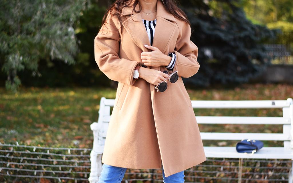 płaszcz camelowy na jesiń
