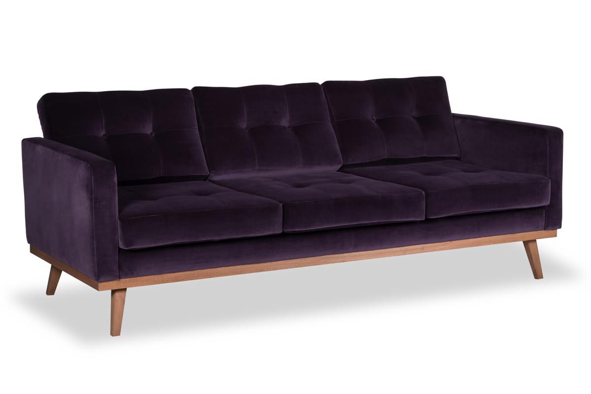 fioletowa sofa skandynawska