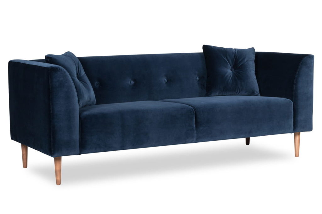 sofa welurowa skandynawska
