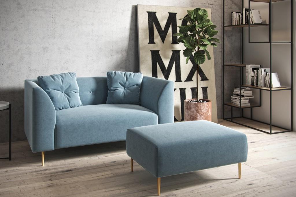 błękitna sofa skandynawska