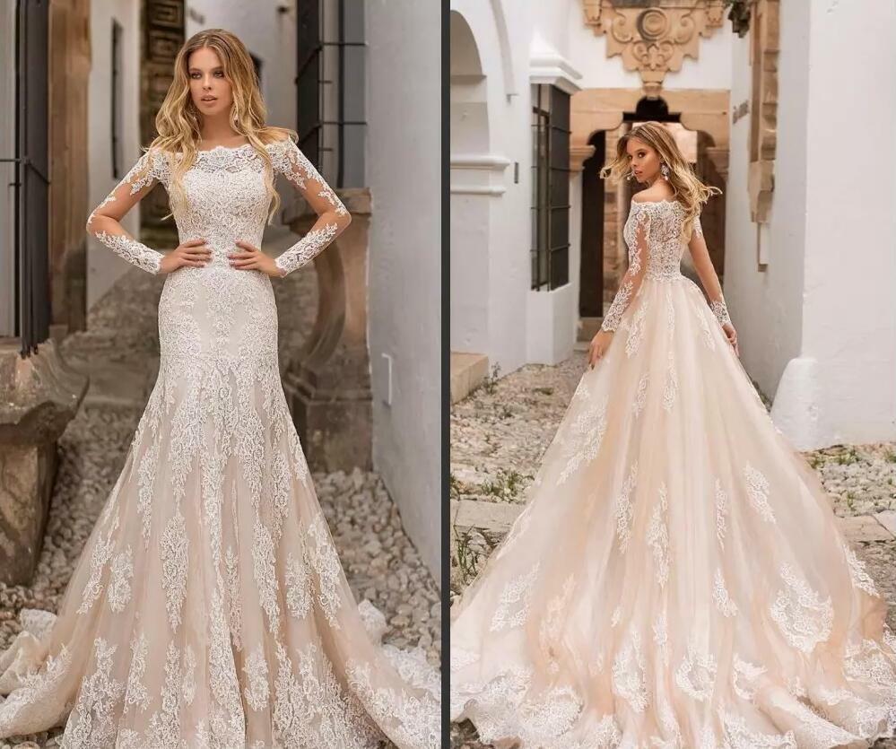 suknia ślubna kremowa koronkowa